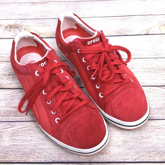 Crocs Red Suede Lace Up Mens Sneaker
